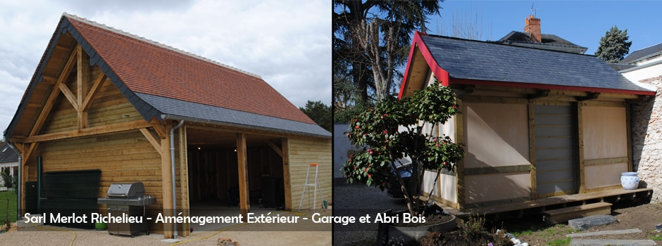 Amenagement bois exterieur charpente bois sarl merlot for Garage exterieur 2 voitures bois