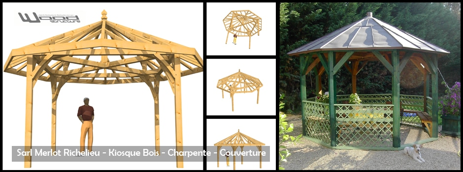 Mobilier exterieur bois wood structure for Piscine gloriette
