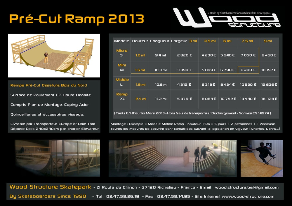 Tarifs mini ramp 2013 - Rampe Skate - Wood Structure Skatepark - By Skateboarders since 1990
