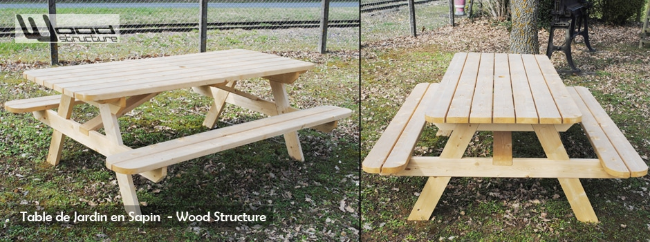 Mobilier exterieur bois wood structure for Plan de construction table de jardin en bois