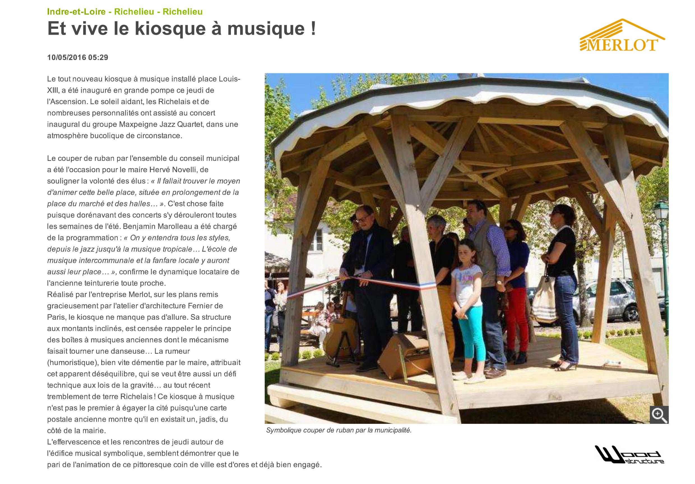 Kiosque à Musique - Kiosque désaxé pour la ville de Richelieu - SARL MERLOT - Charpente - Couverture - Zinguerie