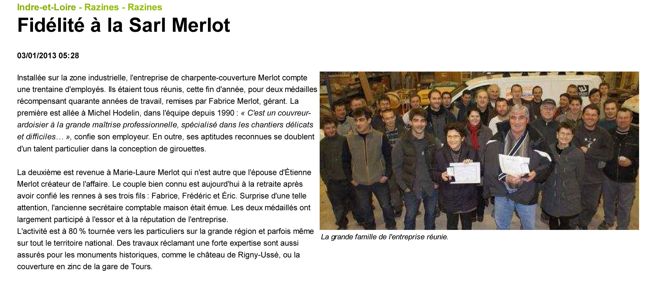 Article NR du Centre - Sarl Merlot