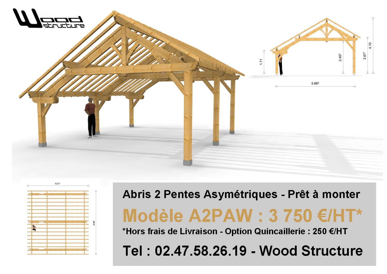 Abris 2 pentes asymetriques - Wood Structure - Sarl Merlot Richelieu