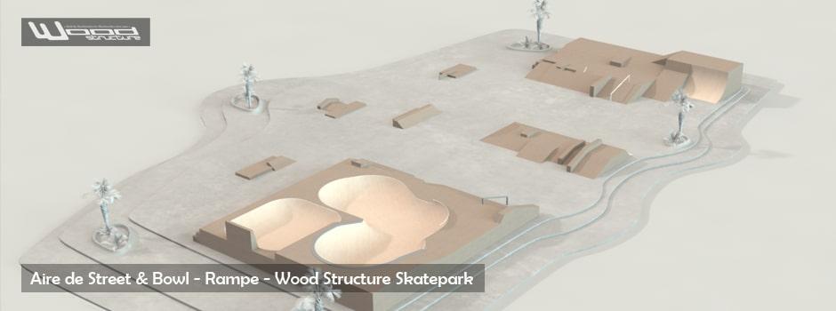Aire de Street - Rampe - Bowl - Wood Structure Skatepark