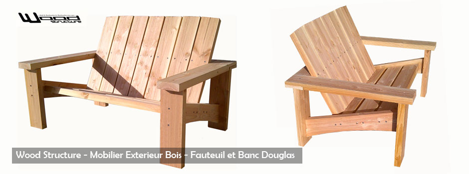 banc en bois pour jardin et terrasse wood structure mobilier exterieur bois sarl merlot. Black Bedroom Furniture Sets. Home Design Ideas