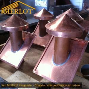 Chapeaux de ventilation de toiture en Cuivre - Sarl MERLOT Richelieu - Charpente Couverture Indre et Loire - Région Centre - Val de Loire - France
