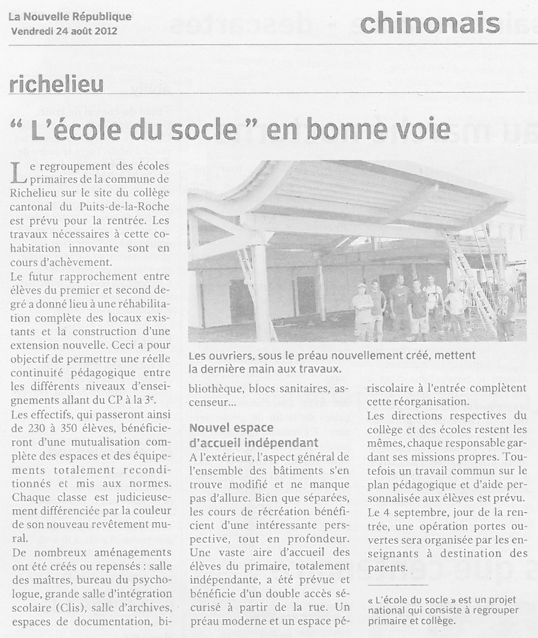 Charpente Bois du Préau de l'Ecole du Socle à Richelieu (37) - Sarl Merlot