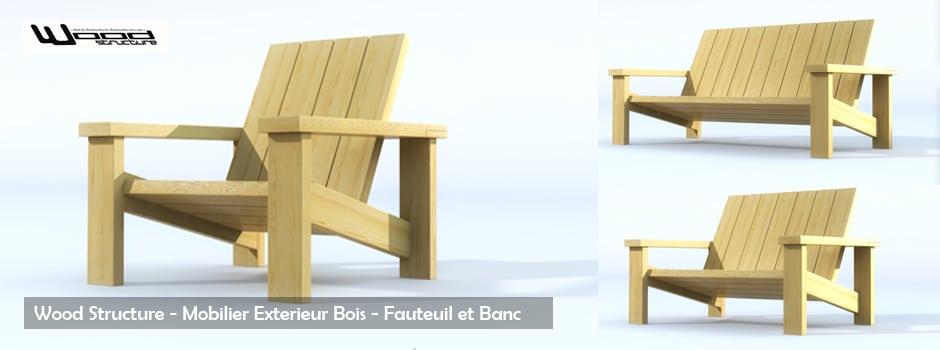 Banc et Fauteuil en Bois - Wood Structure - Sarl Merlot - Richelieu - France