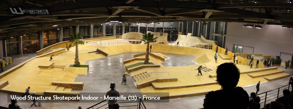 Skatepark Indoor de Marseille - Sarl MERLOT & WOOD STRUCTURE - Fabricant de Skatepark Indoor - Skatepark Couvert