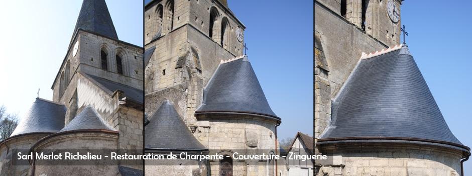 Restauration charpente couverture ardoise - zinc Charpente bois - Sarl MERLOT Richelieu - Charpente Couverture Indre et Loire - Région Centre - Val de Loire - France