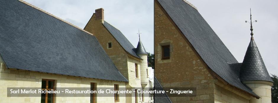 Restauration de Charpente - Couverture - Zinguerie - Sarl Merlot - Richelieu - France