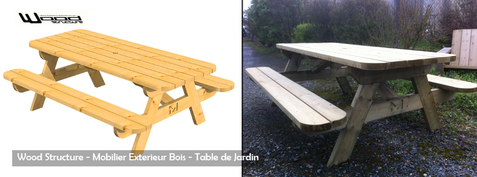 Table de Pique Nique Bois - Sarl Merlot - Wood Structure