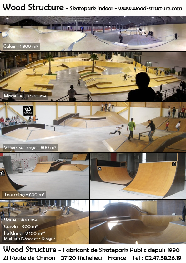 Skatepark Indoor Public - Wood Structure Fabricant de Skatepark depuis 1990