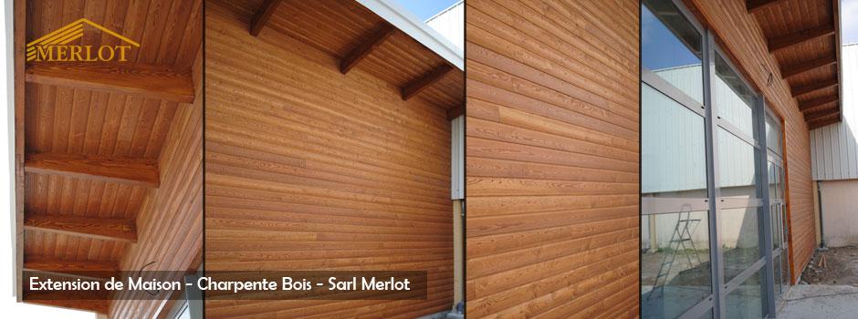 Extension maison bois - Charpente Ossature Bois - Sarl MERLOT - 37120 Richelieu