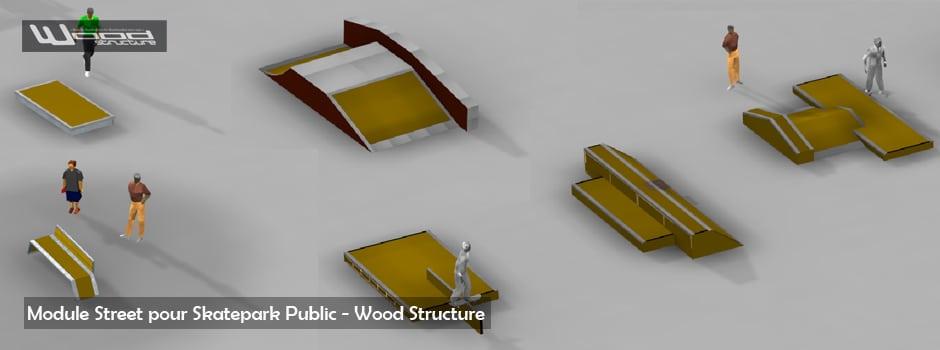 Module pour aire de street - Skatepark Wood Structure - Fabricant depuis 1990