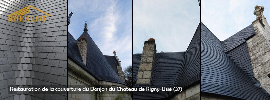 Restauration de couverture ardoise - Chateau de Rigny-Ussé (37) - Sarl Merlot