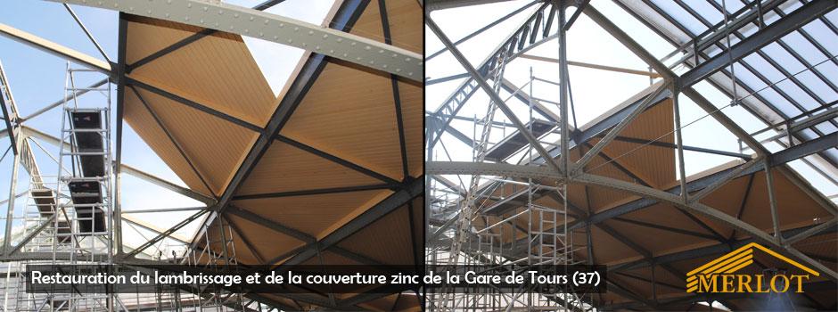 Restauration couverture zinc de la gare de tours (37) - Sarl Merlot