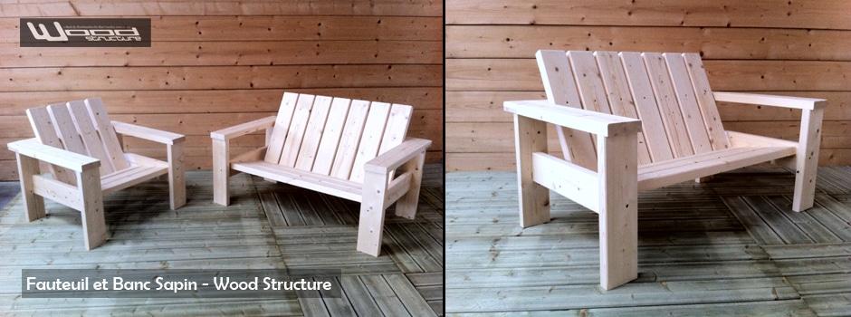 Mobilier Exterieur Bois - Fauteui et Banc - Wood Structure