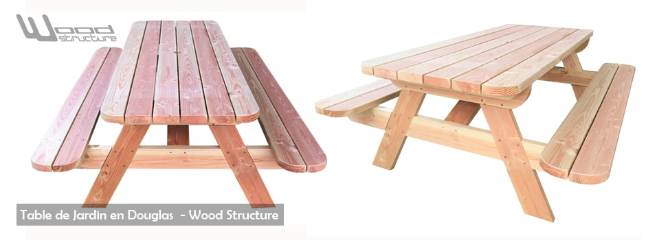 Table de jardin en douglas - Mobilier Bois Merlot - woodstructureshop.fr