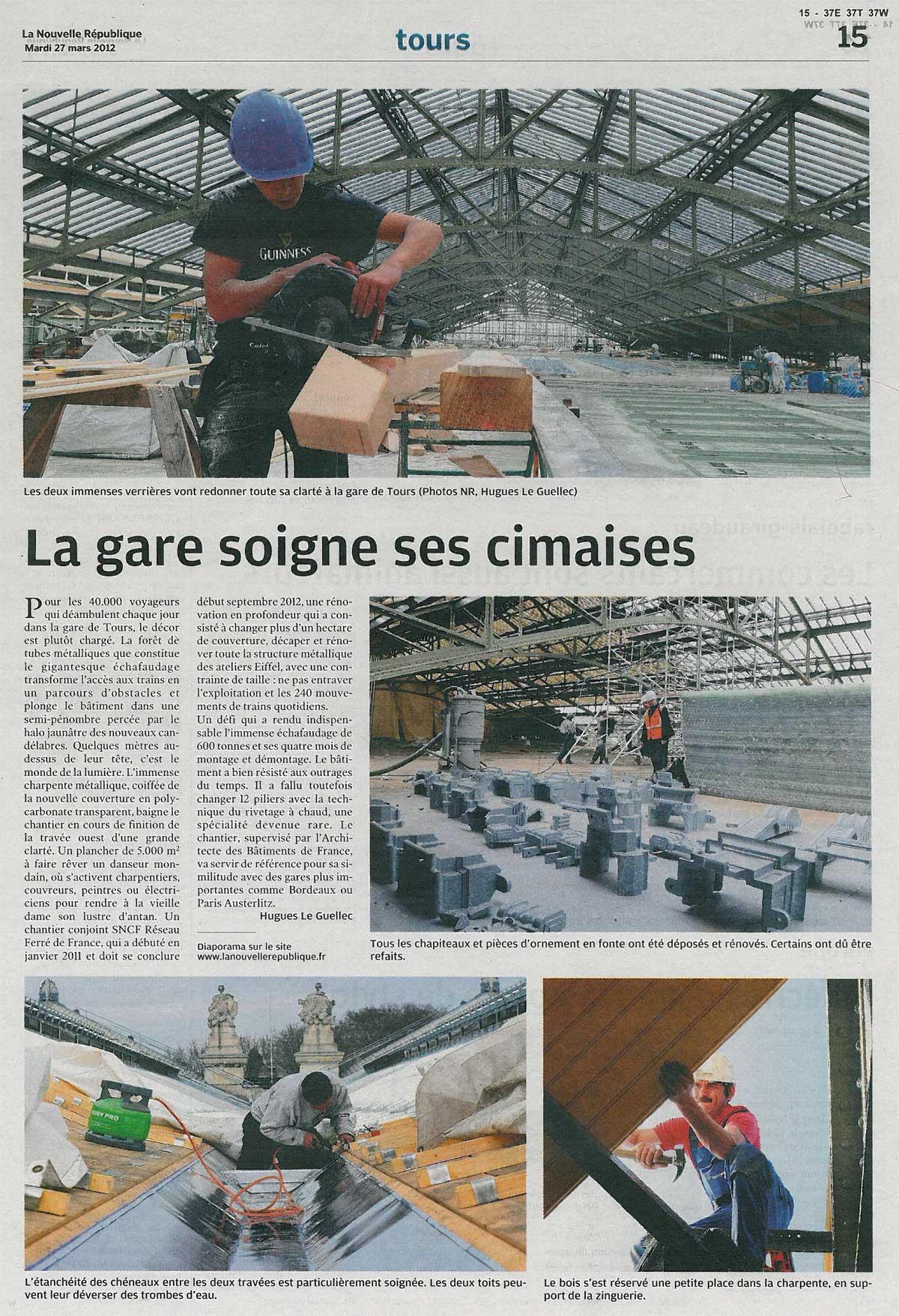 Restauration des lambris et de la couverture zinc de la gare de tours (37) - Sarl Merlot - Richelieu (37)