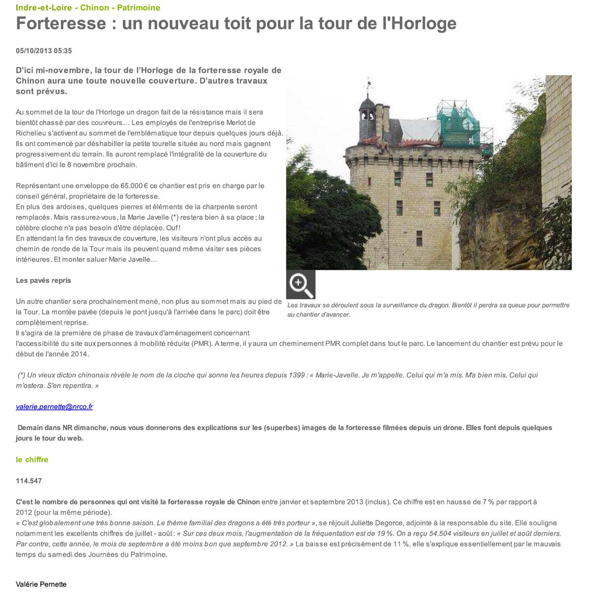 Forteresse de Chinon - Un nouveau toit pour l'horloge - Restauration de la couverture ardoise par la Sarl Merlot - Charpente - Couverture - Zinguerie - 37120 Richelieu