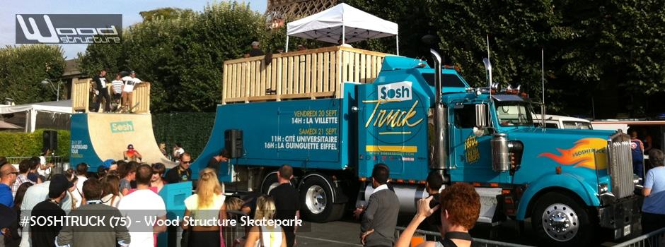 Rampe sur camion pour évenement Sosh Truck à Paris - Wood Structure Skatepark