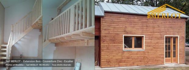 Extension Maison Ossature Bois - Bardage - Couverture Zinc et Escalier - Sarl MERLOT Richelieu - Région Centre - Touraine - Val de de Loire