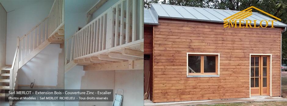 extension maison ossature bois bardage couverture zinc et escalier sarl merlot richelieu. Black Bedroom Furniture Sets. Home Design Ideas
