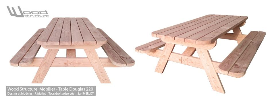 Table de jardin en douglas - Mobilier Bois Merlot - wood-structure.com/shop