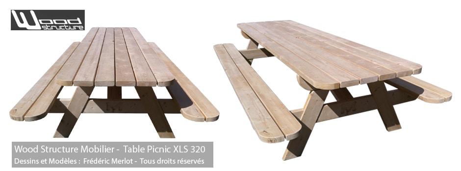 Table Pique-Nique Bois - Sapin du Nord 320 - Wood-Structure - Mobilier de jardin - Table de pique-nique - Caillebotis - Sapin du Nord - Douglas et Autoclave - Fabriqué en France à Richelieu (37)