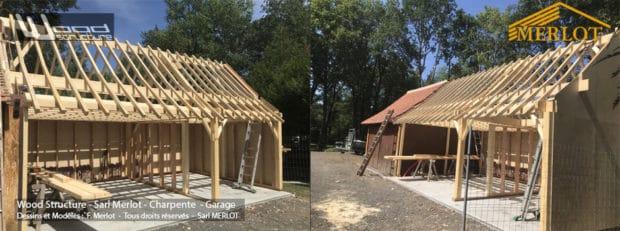 Extension de Garage Ossature Bois - Wood Structure - Sarl MERLOT RICHELIEU - 37 - Indre et Loire - Touraine - Région Centre Val de Loire.