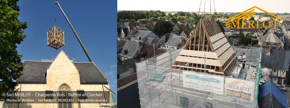 L'Eglise de l'Ile Bouchard a retrouvé son clocher. Rénovation de Charpente du Beffroi et du clocher par la Sarl MERLOT Richelieu (37)