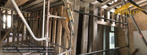 Rénovation de Charpente d'ancien colombage en Chêne - Amboise - Charpente Bois MERLOT - Richelieu 37